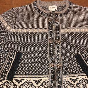 Black & White 100% Soft Wool Cardigan Sweater L
